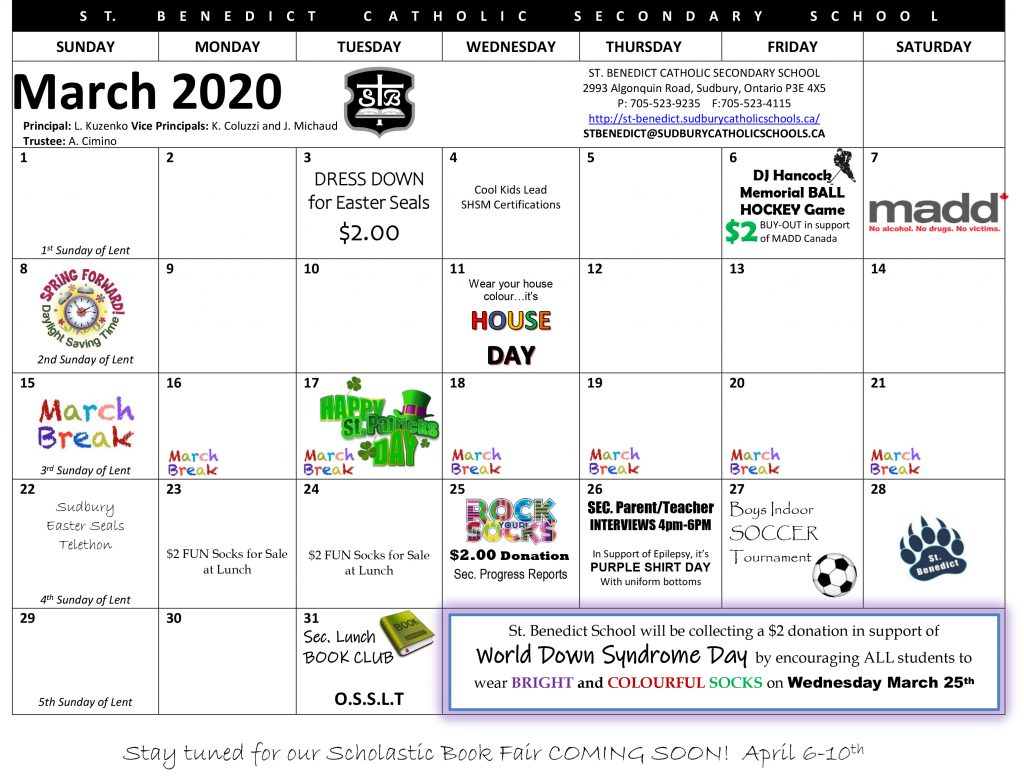 This image shows events that are taking place at St. Benedict during the month of March 2020.