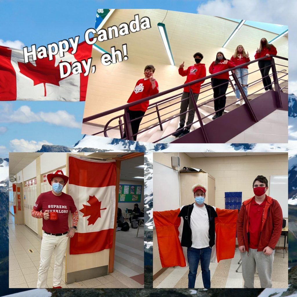 students in Canadian colours